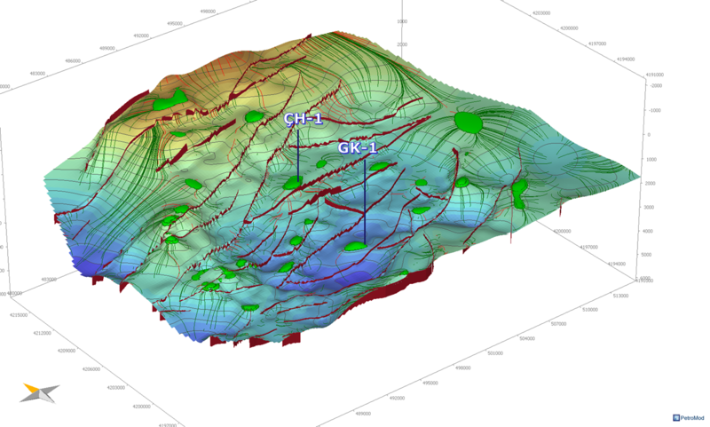 File:3D view of the migration pathways and oil traps.png