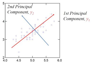 Figure 3: Representation of principal components (eigenvectors) in a set of data.[6]